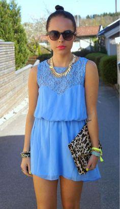 Pretty periwinkle dress.