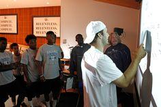 Tony Romo providing instruction in the Film Room.
