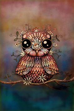 Little Rainbow Flower Owl by Karin Taylor