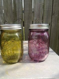 Green and purple mason jars