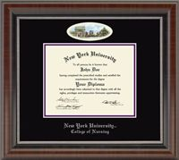 New York University - College of Nursing Diploma Frame - Features artwork of Washington Square by renowned Eglomisé Designs Inc.® It is presented in double black and purple archival matting in our Chateau frame with a rich French walnut finish and coordinating inner lip accent.