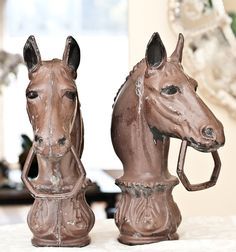 Pair of Horse Head Hitching Post Finials