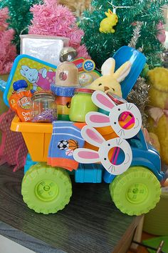 Baby Easter basket holiday, basket idea, gift, truck, craft idea, babi easter, baskets, kid, easter basket