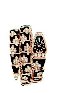 Bulgari: Rose Gold, Diamond, Onyx and Black Enamel Watch worn by Elizabeth Banks at the White House Correspondent's Dinner, April 28, 2012