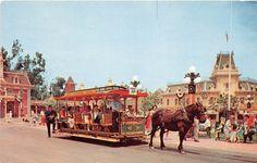 Disneyland Postcard Dobbin Main Street Trolley