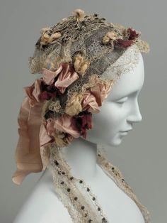 Ladies' Cap of Lace & Roses, Mid-19th Century.