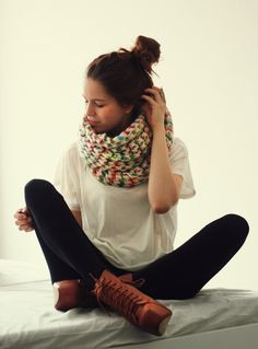 infinity scarf & laced up wedges.