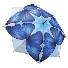 Galleria Art Print Walking Length Umbrella - Blue Morpho