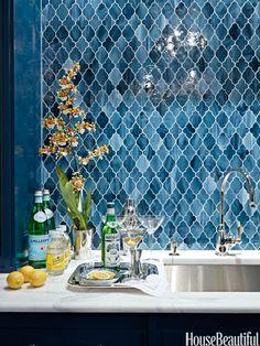 gorgeous blue Moroccan tile backsplash (Aladdin tile from Waterworks)