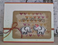 Lawn Fawn - Love You Tons and coordinating dies, Stitched Journaling Card die, Pink Lemonade Lawn Trimmings _ Lizzy created a fun stenciled background _ the Lawn Fawn blog: Lawn Fawn Video {12.2.13} A sweet Valentine