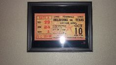 Bud Wilkinson's 47 straight win streak started on this day in 1953. Oklahoma football art. This framed historic football poster is made from an authentic 1953 Oklahoma vs. Texas ticket. This was win # 1 of Oklahoma's NCAA record 47 consecutive victories. #47STRAIGHT http://www.shop.47straightposters.com/