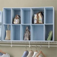 Closet Purse Organizer . you could make this by using empty shoe boxes hot glue them together, and paint.   Oh my gosh I have one of those display pieces, perfect for this.    Great idea.  Check the stores when they are tossing out cardboard fixtures.