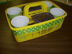 Desktop caddies... hot glue cups to bottom, address label tops of crayon boxes.