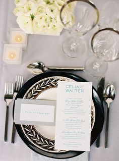 Black and white wedding - place setting