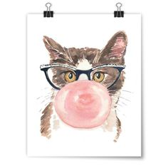 """Cats Love Bubble Gum"" Deidre Wicks Toronto, Ontario, Canada  Part of our Winter Exhibit featuring original paintings by Deidre Wicks.  #cat #catart #cats #art #illustration #painting"
