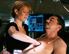 """""""Tony: It's like operation! Pepper: """"What's Operation? Tony: You've never played that game? OW!"""""""