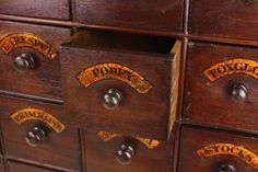 Antique style seed storage cabinet