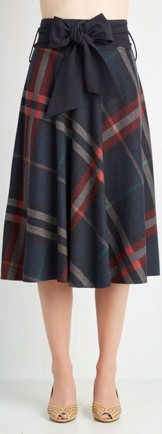 plaid A line skirt a