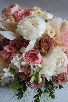 Vintage Wedding Bouquet of Peonies & English Garden Roses