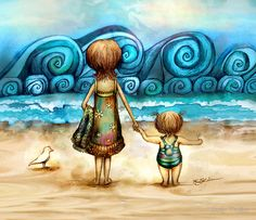. karin taylor, mother, the wave, the ocean, art prints, at the beach, sea, artist, taylors
