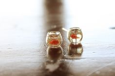 Orange Goldfish in a bowl pet  earrings. $18.00, via Etsy.