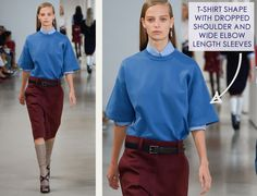 Careful Proportions at Jil Sander | The Cutting Class. Jil Sander, SS15, Milan, Image 7. T-shirt shape with dropped shoulder and wide elbow length sleeves.