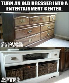 Turn and Old Dresser into an Entertainment Center ... from consigndesign on FB ....  Great way to recycle/upcycle.  Similar ideas for all sizes of dressers, nightstands, etc....