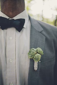 Succulent boutonniere // Photography By http://brookecourtney.com