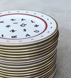 Dishes designed with letters from the local designer Madara Krievina, Riga.