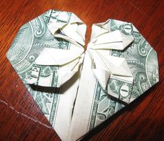 Origami Money Hearts