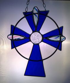 Stained Glass Jeweled Cross by PrismStainedGlass on Etsy