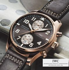"""IWC Pilot's Watch """"Saint Exupery"""" edition for 2012 -- rose gold with tobacco dial and strap"""