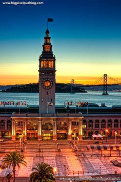 Sunrise over the Port of San Francisco, California, USA