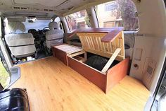 "Sofa bed / pull-out bed in the ""up"" position to access the storage area.  Tutorial by Carlos Alcos.  ~  trailer camper caravan RV motorhome tiny house small space bedroom couch space-saving folding furniture"