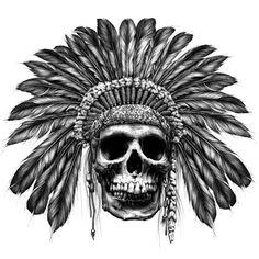 Indian skull #tattooidea #blackandwhite #skull #headpiece