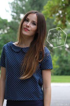 DIY Peter pan collar top with optional zipper or button back