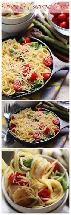 Shrimp & Asparagus Pasta ~ Perfect Summertime Pasta Dish Loaded with Cherry Tomatoes, Asparagus, Pasta and Parmesan Cheese!