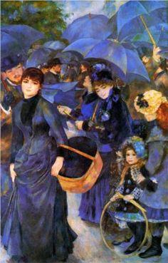 les paraplui, the national, galleries, umbrellas, blue