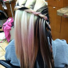 Hair braid cosmetology school waterfall cool awesome pinkhair black