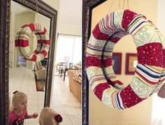 Fabric scrap wreath - DIY - super easy - http://www.kellehampton.com/2011/11/ill-take-holiday-craftastic-for-400.html holiday, christma wreath, christmas wreaths, craft wreath, christma idea, diy craft, craft ideas, diy fabric wreaths, diy christmas