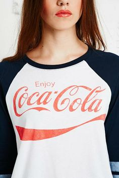 Coca Cola Baseball Tee in Blue at Urban Outfitters