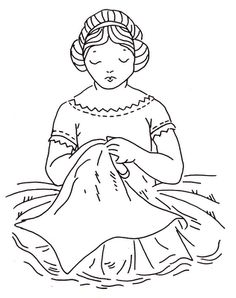 Free Redwork Pattern girl sew, patterns, embroideri pattern, redwork pattern, broderi, redwork embroideri, girl stitch, free redwork, black workr