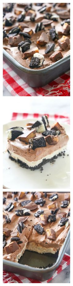 (No-Bake) Peanut Butter Oreo Dessert - layers of creamy peanut butter and chocolate in an easy dessert.