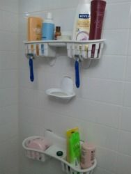 Shower organizers are wonderful, but these stickable ones are especially great since you can place the basket where YOU want it! {featured on Home Storage Solutions 101}
