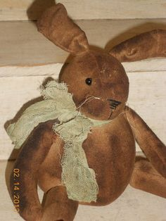 handmade primitive bunny rabbit from osnaburg--tbu815