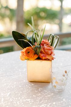simple gold + orange centerpieces | Leigh Webber #wedding
