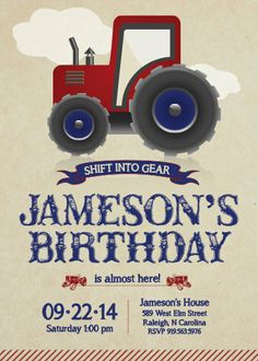 Tractor Rustic Invitation  Boy Birthday by LindsayJayeDesign, $15.00