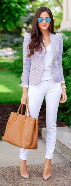 Work Outfit white skinni, jacket, blazer, work outfits, casual outfits, white jeans