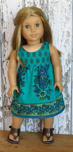 American Girl Doll Clothes - 18 Inch - Turquoise, Blue, Green Paisley Hippie Dress. AG Doll Clothing