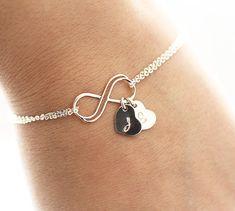 Personalized Infinity Bracelet, Initial Bracelet, Sterling Silver Infinity Bracelet, Mother's Heart Bracelet, Bridesmaids Jewelry personalized bracelets, bridesmaid jewelry, sterling silver, initial bracelet, infinity bracelets, infin bracelet, ray ban sunglasses, new mom gifts, initi bracelet